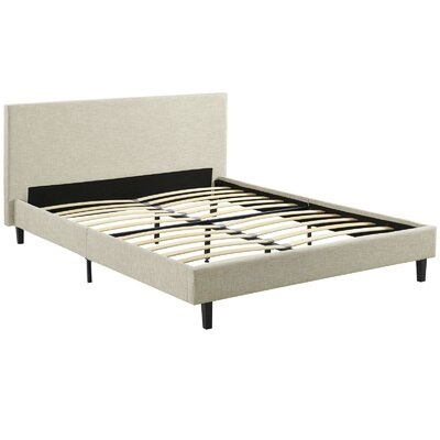 Tafolla Fabric Full Upholstered Platform Bed Color: Beige