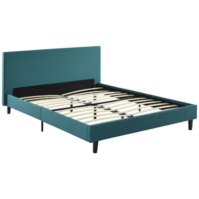Tafolla Fabric Full Upholstered Panel Bed Color: Teal
