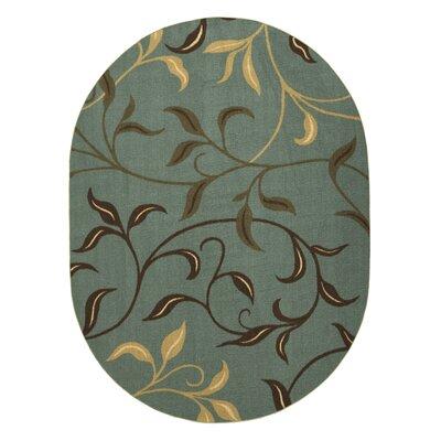 Galesburg Leaves Design Modern Seafoam Area Rug Rug Size: Oval 5 x 66