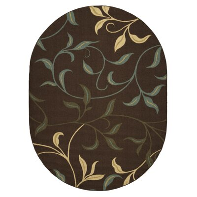 Galesburg Leaves Design Modern Hallway Chocolate Area Rug Rug Size: Oval 5 x 66
