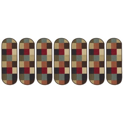 Galesburg Checker Oval Black/Red Stair Tread
