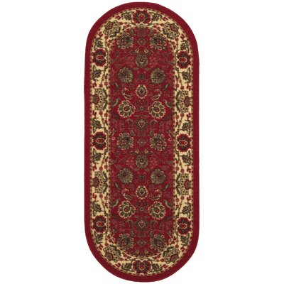 Leonel Traditional Oriental Design Dark Red Area Rug Rug Size: Oval 2 x 5
