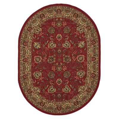 Leonel Traditional Oriental Design Dark Red Area Rug Rug Size: Oval 5' x 6'6