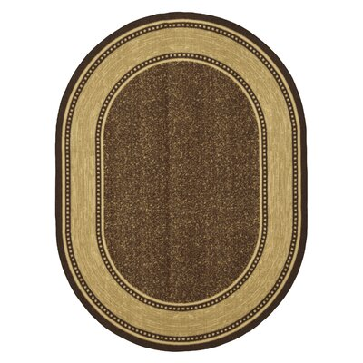 Gehring Bordered Design Chocolate Area Rug Rug Size: Oval 5 x 66