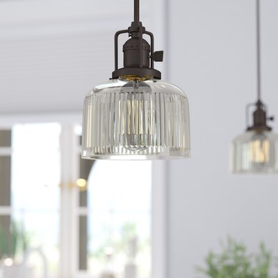 Edgar 1-Light Mini Pendant Finish: Oil Rubbed Bronze, Shade Color: Clear