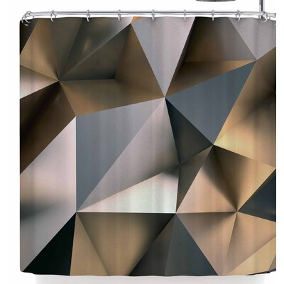 Susan Sanders Modern Metal Silver Gold Shower Curtain