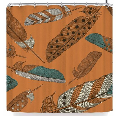Sam Posnick Terracotta Feathers Shower Curtain