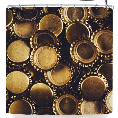 Susan Sanders Gold Bottle Caps Shower Curtain