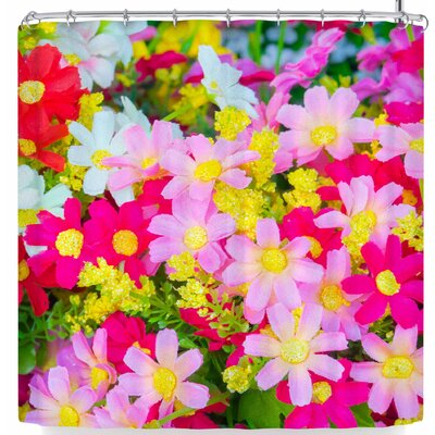 Susan Sanders Colorful Happy Flowers Shower Curtain