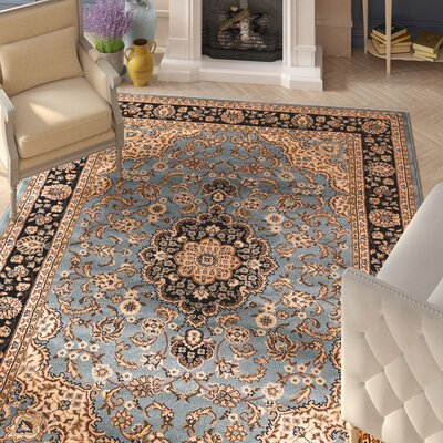 Belliere Medallion Traditional Light Blue Area Rug Rug Size: Rectangle 710 x 910