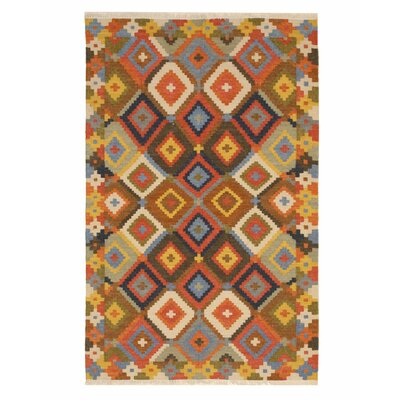 Clocher Traditional Geometric Hand-Woven Wool Blue/Brown Area Rug Rug Size: Rectangle 9 x 12