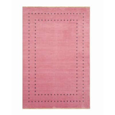 Dreher Transitional Solid Hand-Woven Wool Pink Area Rug Rug Size: Rectangle 9 x 12