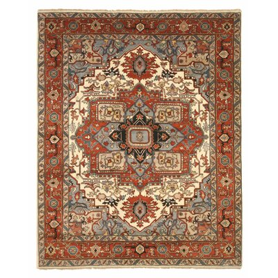 Drewry Traditional Oriental Hand-Knotted Wool Blue/Red Area Rug Rug Size: Rectangle 10 x 14