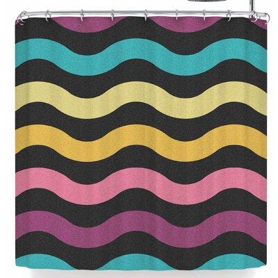 Tobe Fonseca Rainbow Waves Shower Curtain