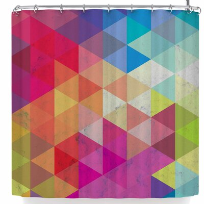 Tobe Fonseca Geometric Fractal Triangles Ra Shower Curtain