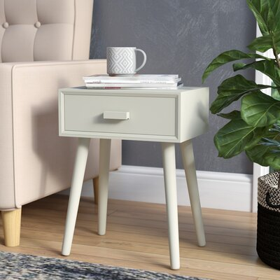 Audrick End Table With Storage Color: Distressed White