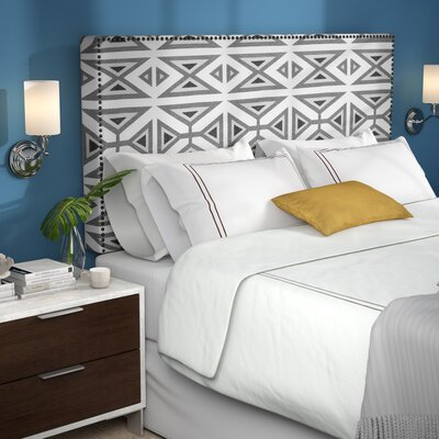 Kaylyn Nail Button Border Upholstered Panel Headboard Size: King