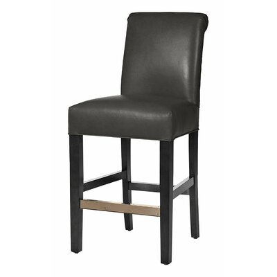 Hunter 26 Bar Stool Base Finish: Matte Black, Upholstery: Steel Gray