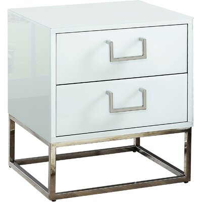 Kemble 2 Drawer Nightstand Color: White/Chrome