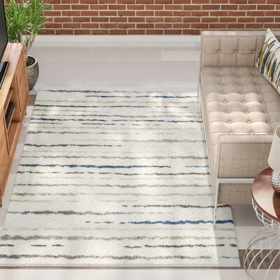 Kaelyn Hazy Line Cream Area Rug Rug Size: 53 x 77