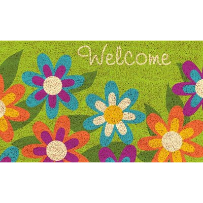 Glenmore PVC Back Printed Doormat Color: Green/Orange