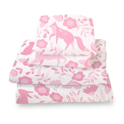 Destefano Animal Sheet Set Size: Full, Color: Pink