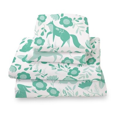 Destefano Animal Sheet Set Size: Queen, Color: Green