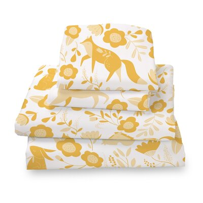 Destefano Animal Sheet Set Size: Twin, Color: Yellow