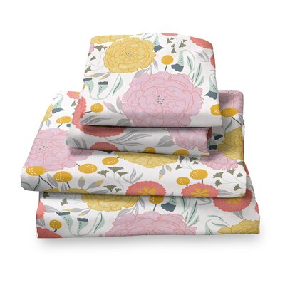 Detrick Floral Sheet Set Size: Full, Color: White/Pink/Yellow
