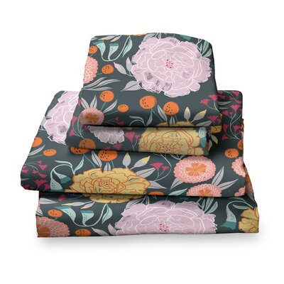Detrick Floral Sheet Set Size: Full, Color: Gray/Teal/Seafoam