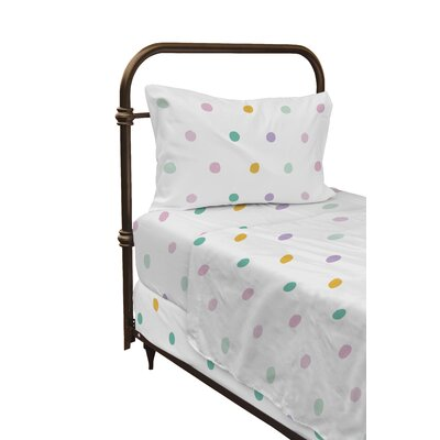 Dessert Polka Dot Sheet Set Size: Twin, Color: Pink/Yellow/Teal
