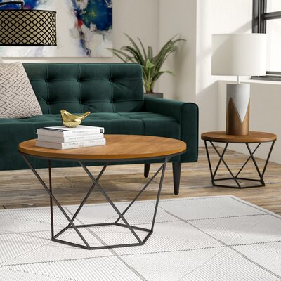 Dunavant Wood 2 Piece Coffee Table Set Base Color: Black