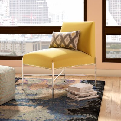 Bethea Lounge Chair Upholstery: Yellow Satin