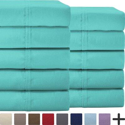 Pavia Double Brushed Microfiber Sheet Set Color: Turquoise