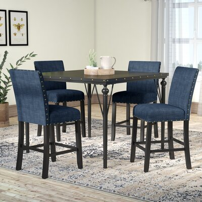 Amy Wood Counter Height 5 Piece Dining Set with Fabric Nailhead Chairs Upholstery Color: Blue