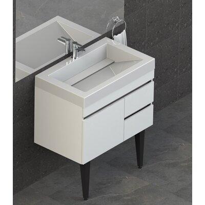 Byrns 31 Wall-Mounted Single Bathroom Vanity Set Base Finish: White Thermolaminate
