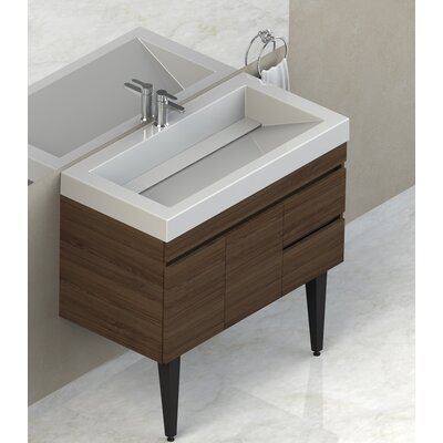 Byrns 37 Single Bathroom Vanity Set Base Finish: Walnut