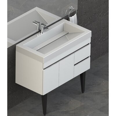 Byrns 37 Single Bathroom Vanity Set Base Finish: White Thermolaminate