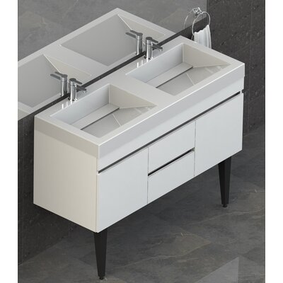 Byrns 48 Double Bathroom Vanity Set Base Finish: White Thermolaminate