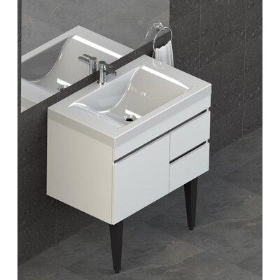 Byrns 31 Single Bathroom Vanity Set Base Finish: White Thermolaminate