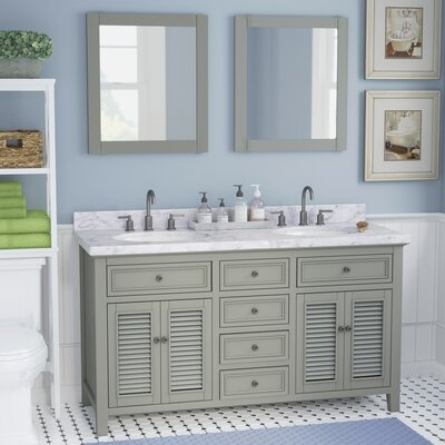 Braselton Solid Wood 61 Single Bathroom Vanity Set with Mirror Base Finish: Gray