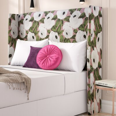 Adalia Bloomsbury Rose Upholstered Wingback Headboard Size: Queen