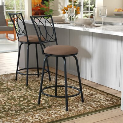 Lanark Adjustable Height Swivel Bar Stool Color: Antique Black, Upholstery: Beige
