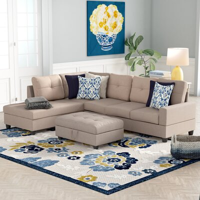 Niantic Sectional with Ottoman Upholstery: Beige, Orientation: Left Hand Facing