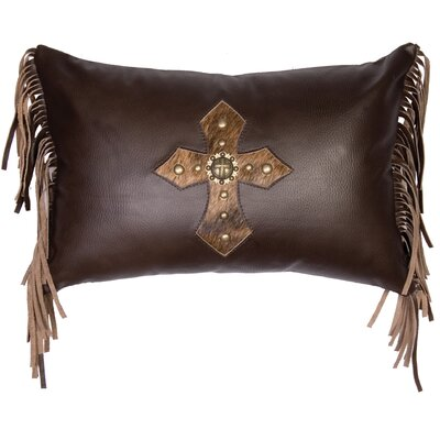 Cross Antique Concho and Spots Leather Lumbar Pillow Color: Brown