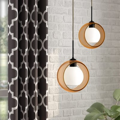 Spigner 1-Light Mini Pendant Base Finish: Bronze, Shade Color: Amber
