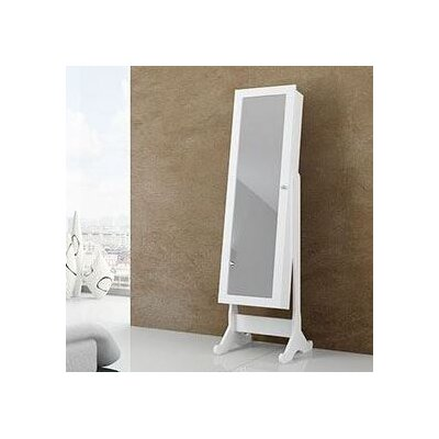 Follis Matte Free Standing Jewelry Armoire with Mirror