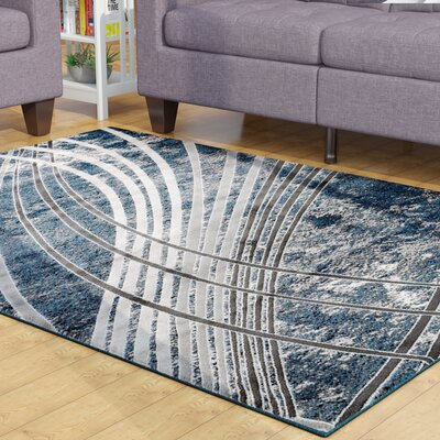 Ross Glamour Wave Blue /Gray Area Rug Rug Size: 53 x 72