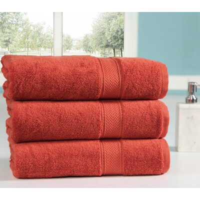 Peele 100% Combed Cotton Oversized Bath Sheet Color: Rust