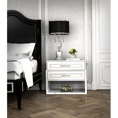 Moderne 2 Drawer Nightstand Color: Connoisseur - Muslin, Accents: Silver